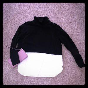 KENAR shoulder zip layered top